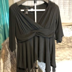 Cute black asemetrical top.